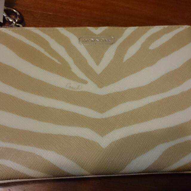 保證正品! COACH, Zebra, 斑馬紋, PVC, 卡其色, 零錢包