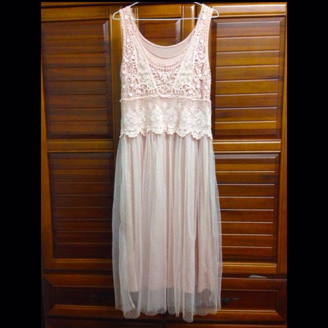 (保留中)淡粉色兩件式鉤針紗裙長洋裝 pink dress
