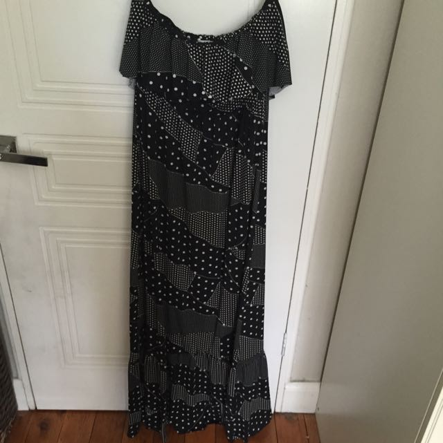 Black & White Strapless Maxi Dress With Frill Edge Size 14