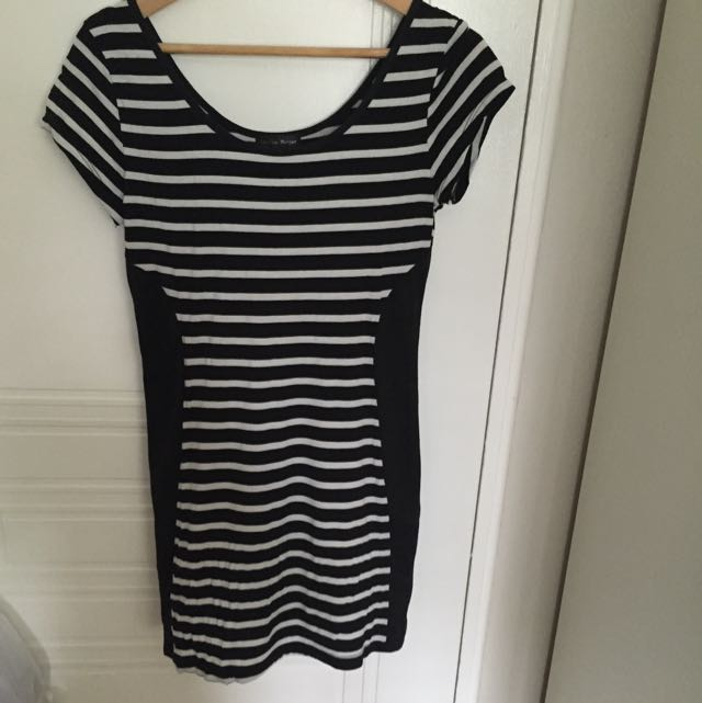 Black And White Striped Mini Dress Size L