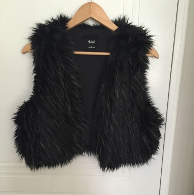 Black Faux Fur Vest Size 14