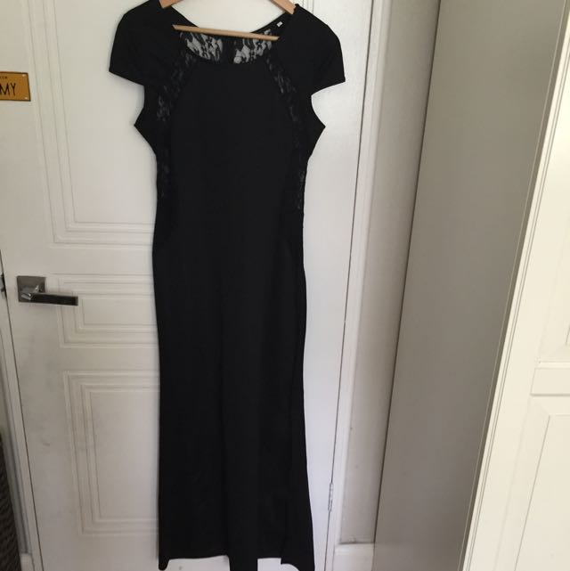 Black Fitted Maxi Dress With Lace Cutouts Size L