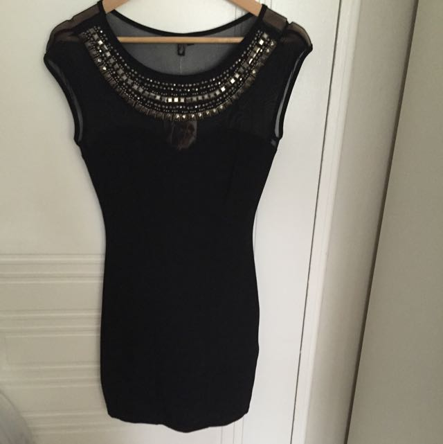 Black Mini Dress With Sheer And Beaded Neckline Size M