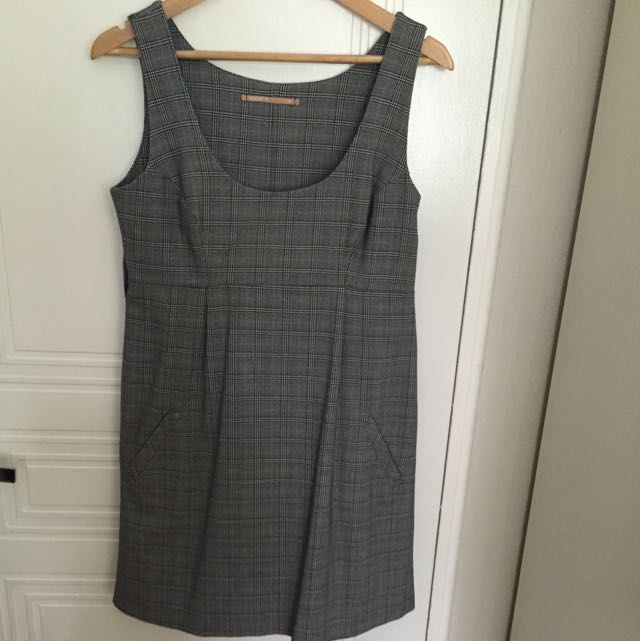 Cooper St Grey Tartan Print Shift Dress With Pockets Size 12