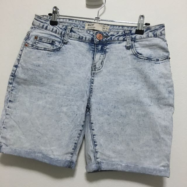 Cotton On White/ Acid Wash Denim Shorts - Size 12