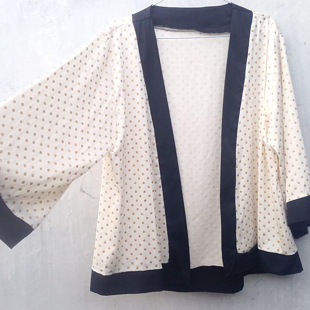Gold Polkadot Kimono Outer