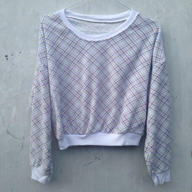 Crop Top Sweater Baby Blue Murah