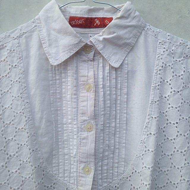 DISKON 50% Kemeja Putih Triset (Short Sleeve White Shirt Woman)