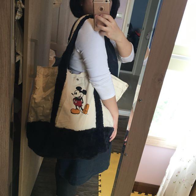 Disney迪士尼 米奇 米老鼠大方包,拖特包