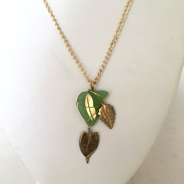 Green Leaf Sea Glass Necklace