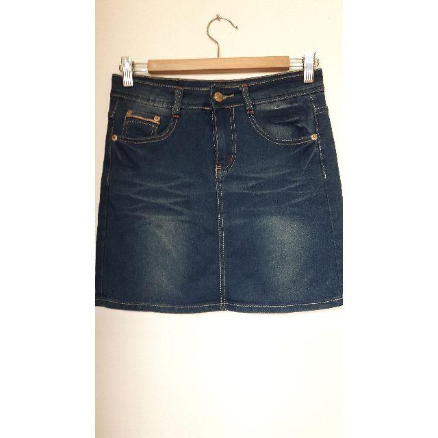 全新藍色復古刷色m號牛仔褲裙