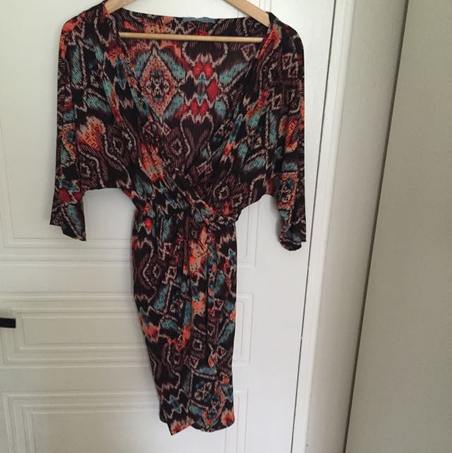 Multi Colour Cross Over Dress Size M