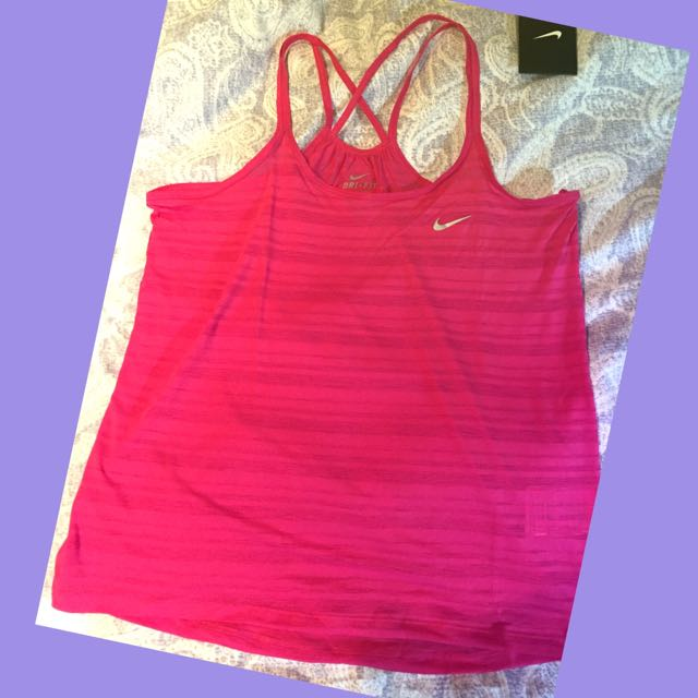Nike Running Dri-fit 慢跑 跑步桃紅細肩帶背心 S號吸濕排汗