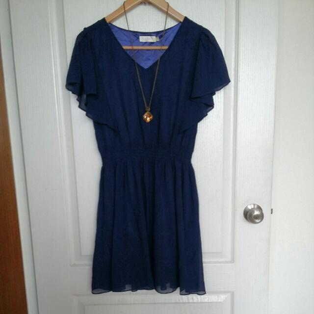 海軍藍V領荷葉袖縮腰雪紡洋裝(含郵)