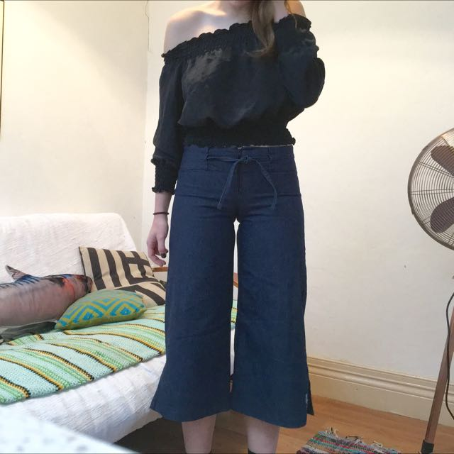 Vintage Denim Flare Culottes Size 8