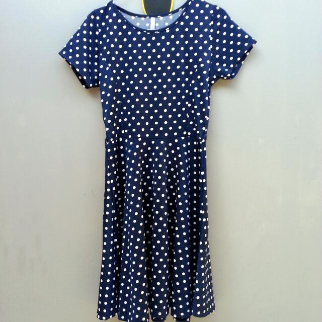 Vintage Polka Navy Dress