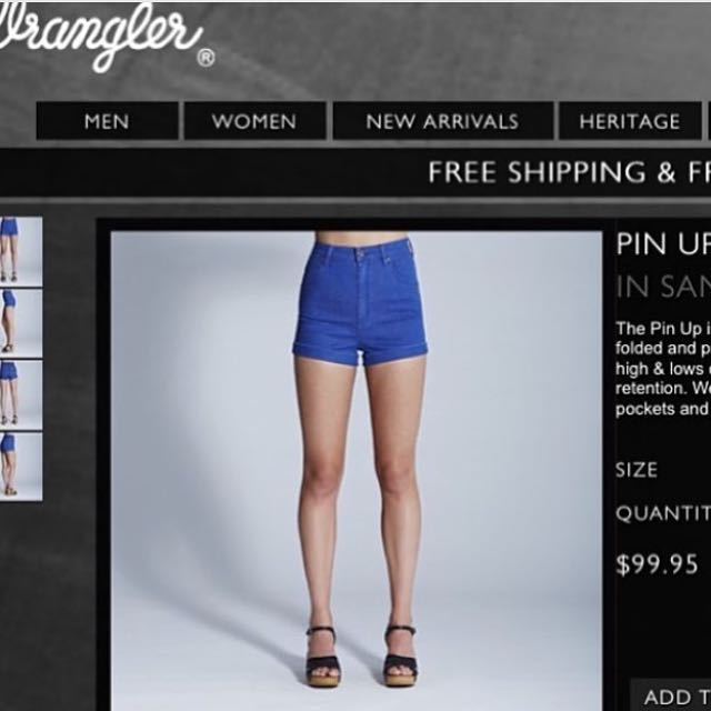 Wrangler High Waisted Shorts (Sandy Blue)