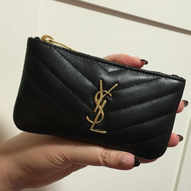 89e2612c1ff YSL Saint Laurent Black Pouch / Key Ring In Side, Women's Fashion ...