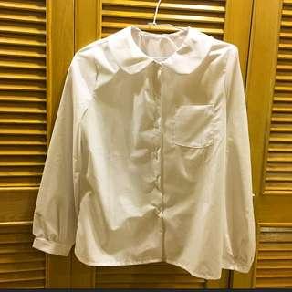 圓領可愛白襯衫