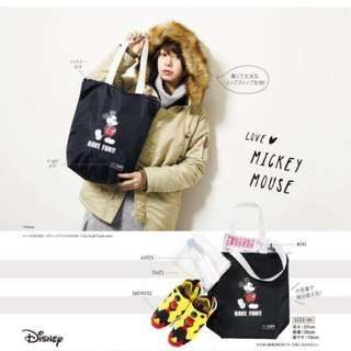 日本mini雜誌X-girl附錄 迪士尼米奇米老鼠micky拉鍊托特包尼龍旅行袋托特包手提袋購物袋日雜附錄包