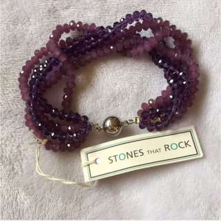 Amy Purple 5 String Crystal Bracelet With Magnetic Clasp ( STONES that ROCKS )