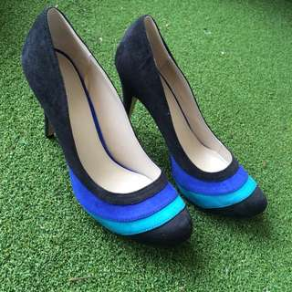 Betts Black And Blue Suede Size 9 High Heels