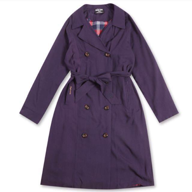 🌼Major Made 雙排扣格紋內裡風衣外套-深藍