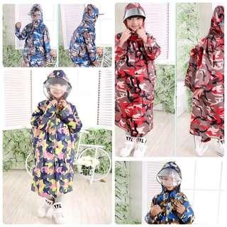 韓國時尚加厚迷彩兒童雨衣男女學生帶書包位雨衣加大防雨護臉帽簷