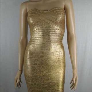 Brand New Gold Metallic Bandage Dress