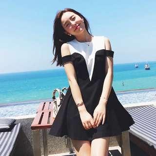 <超質感>輕奢名媛黑白撞色落肩連衣裙女2016夏季新款韓版無袖打底裙 洋裝 露肩洋裝 露肩 比基尼 度假洋裝 約會洋裝