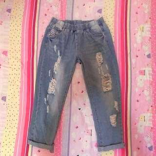 [二手 含運 ]I Jeans 鬆緊星點點刷破男友褲