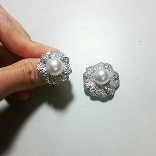 真鑽珍珠戒指+墜鍊別針兩用組