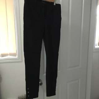 Forever New Black Work Pants With Gold Ankle Detail