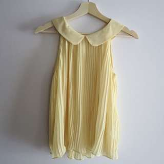 Pastel Yellow Pleated Peter Pan Blouse