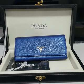 PRADA 水波紋金logo水波紋翻蓋長夾(全新附保證卡)