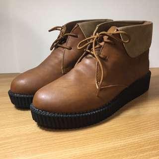 #六月免購物直接送 咖啡反折厚底鞋