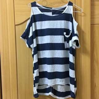 【九成新】藍白條紋挖肩前短後長上衣