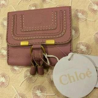 正品 Chloe經典款短夾 非常新 限量藕粉色