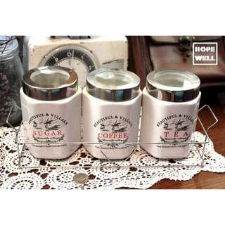 歐式白色陶瓷茶葉罐 咖啡罐 糖罐 下午茶用品 調味瓶