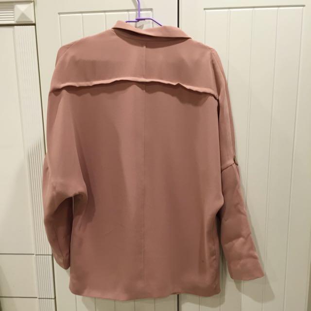 正韓西裝粉色外套