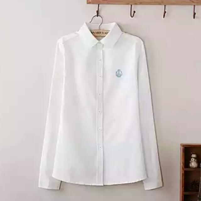 百搭圓領白襯衫✨