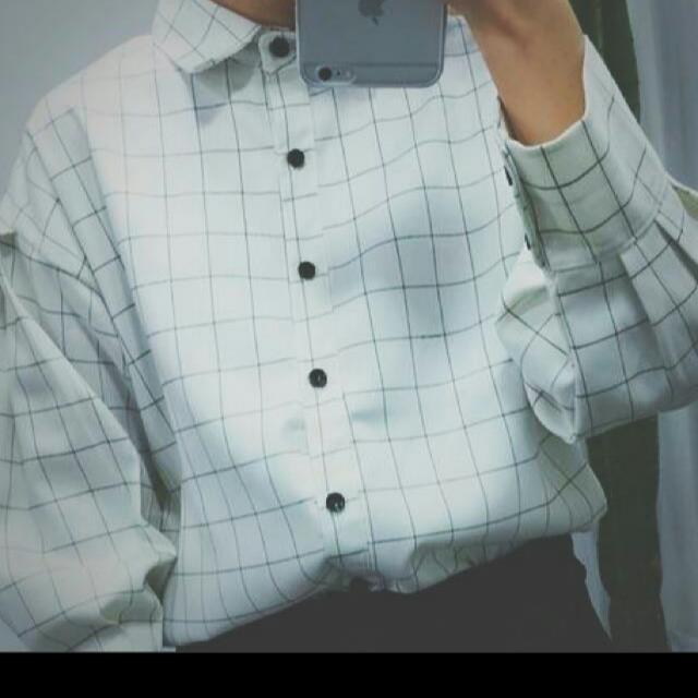 黑白格紋薄襯衫✨