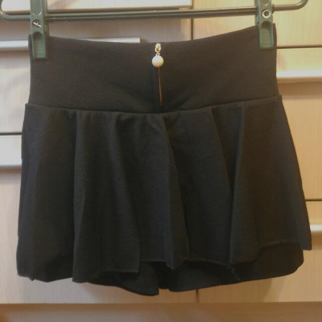 垂墜珍珠黑色褲裙
