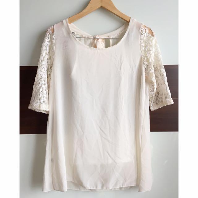 全新🆕含吊牌半長袖雪紡蕾絲兩件式上衣