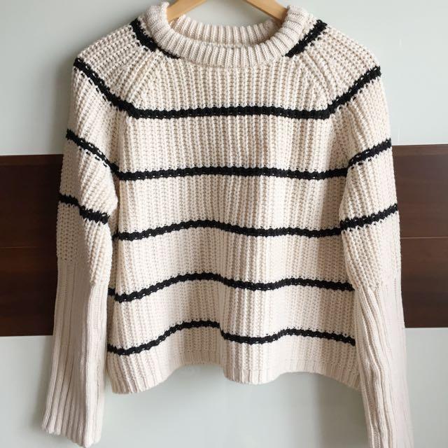 全新🆕條紋厚針織毛線衣