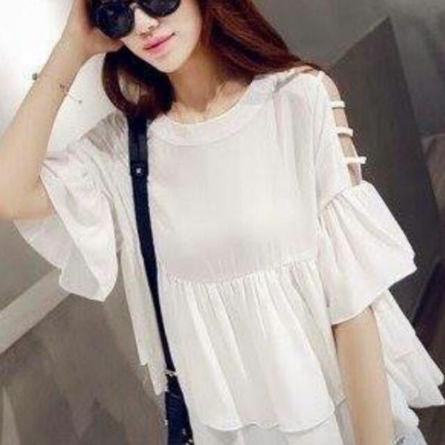 韓版時尚露肩雪紡荷葉短袖上衣 白色款