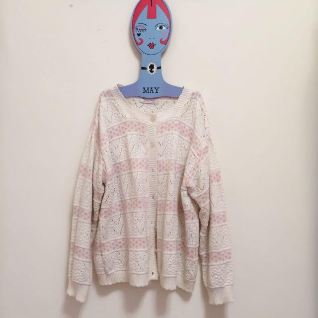 ㊊ .☾粉嫩春夏針織長袖外套☽ Vintage•古著
