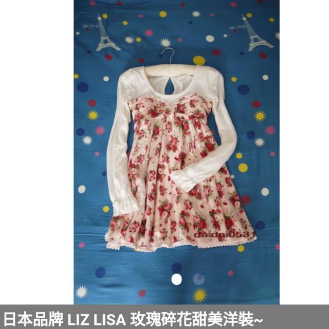 日本品牌 LIZ LISA 玫瑰碎花甜美洋裝~