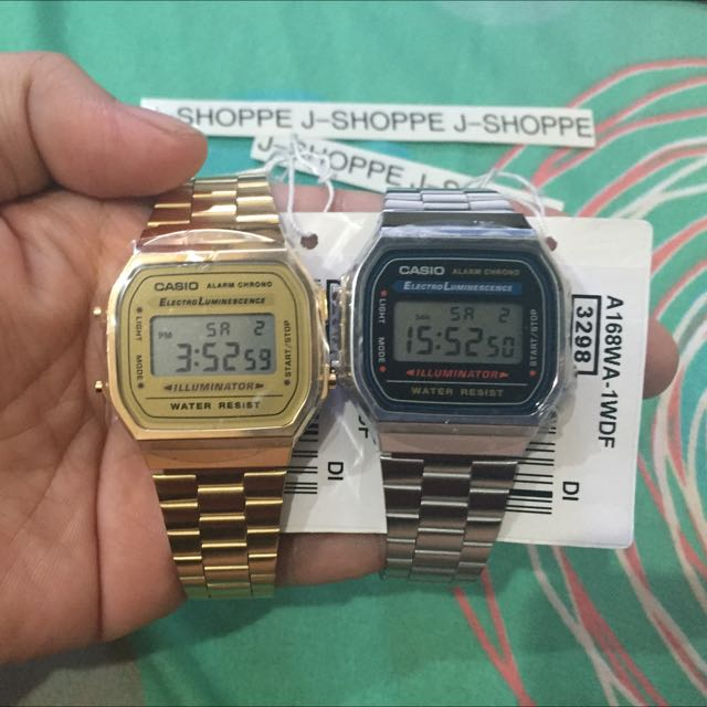 0af0ba7f64a8 In-Stock  A168 Gold   Silver Casio couple Watch