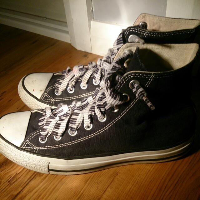 (Reserved) Black High -Top Converses With Piano Key Laces. Unisex; Men's Size 7, Women's 9.